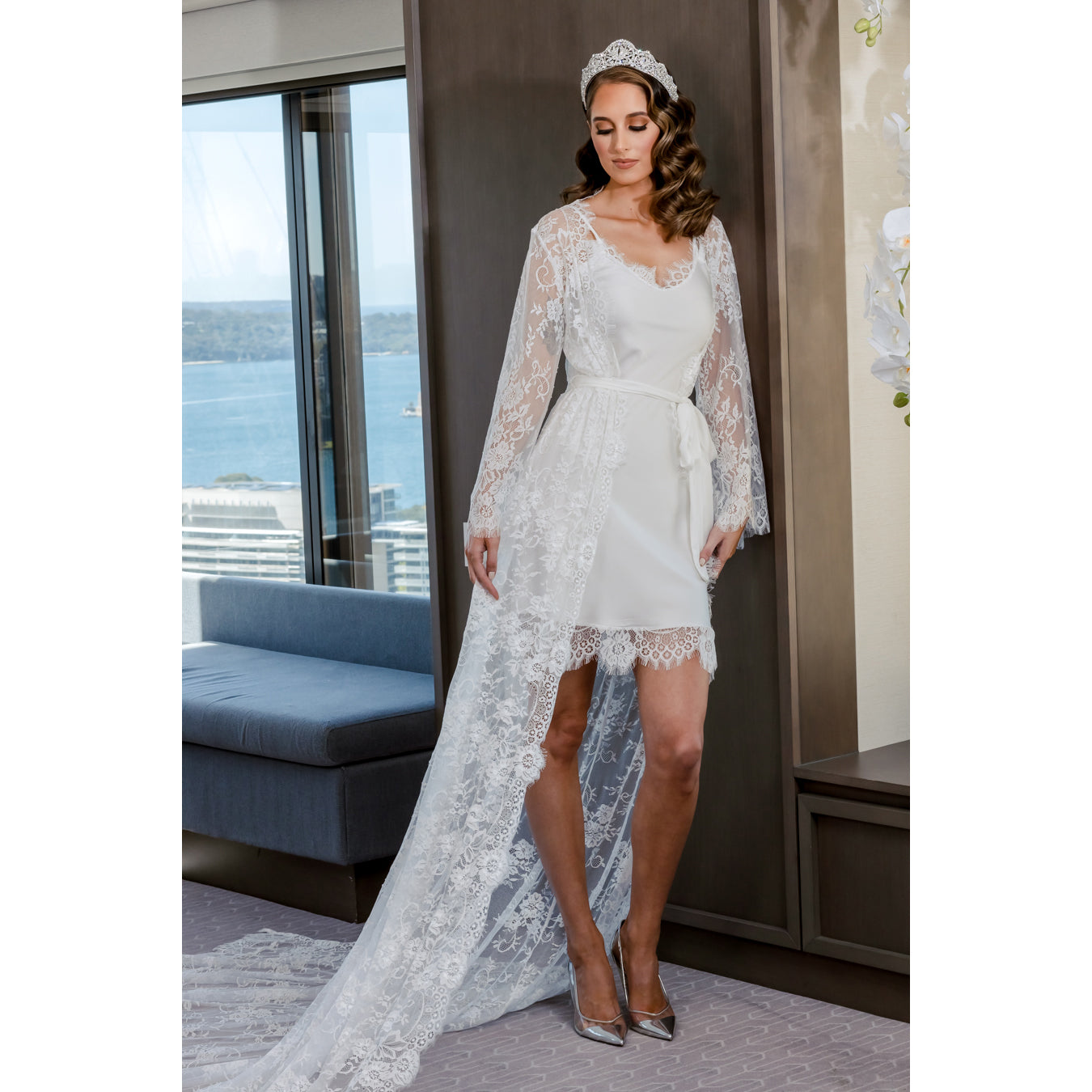Anastasia Bridal Lace Robe with Long Train