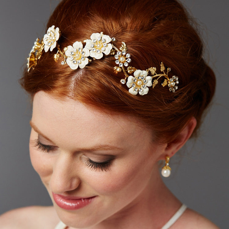 Babette Bridal Halo Gold - Hair Accessories - Bohemian Halo, Circlet - Roman & French