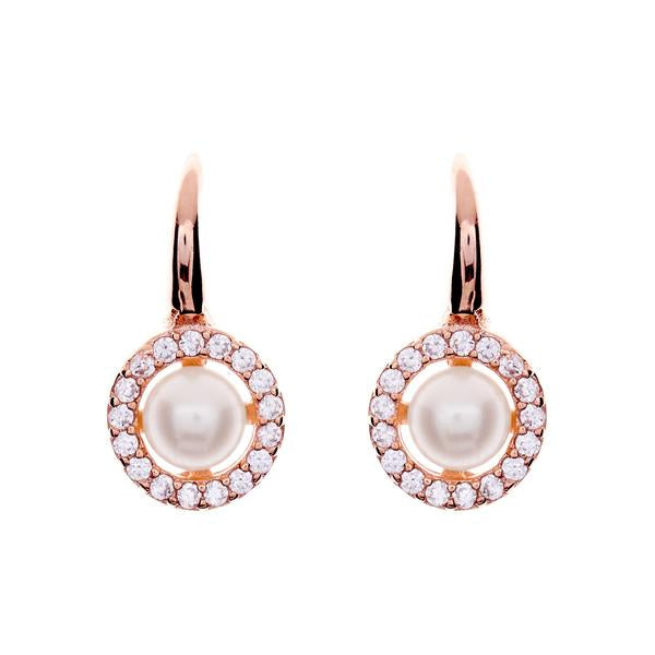 Belina Bridal Earrings (Rose Gold) - Earrings - Classic Short Drop - Roman & French