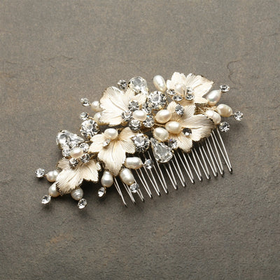 Berenice Bridal Hair Comb Gold Leaves - Hair Accessories - Hair Comb - Roman & French