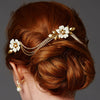 Blanche Bridal Hair Comb Vine - Gold - Roman & French  - 1