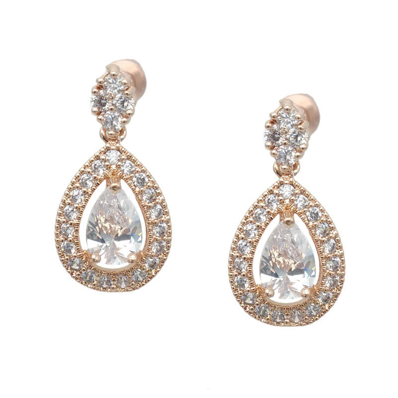 Bondy Bridal Earrings - Rose Gold - Earrings - Classic Short Drop - Roman & French