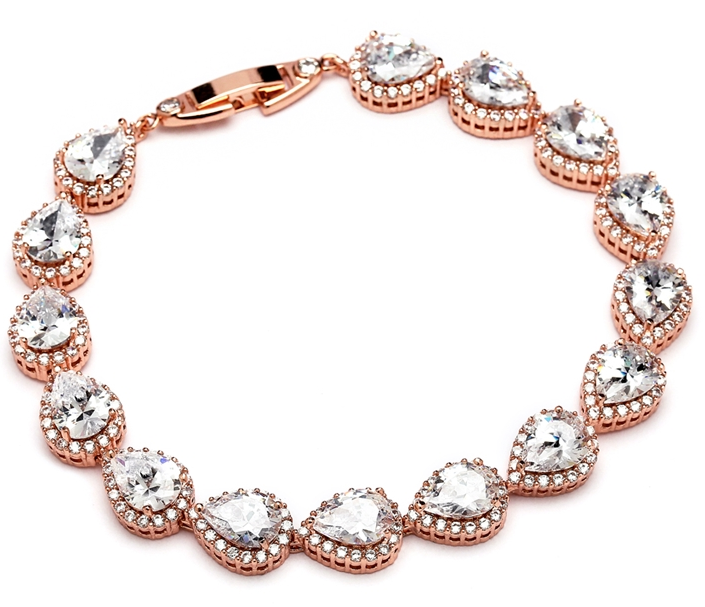 Brooke Bridal Petite Bracelet - Rose Gold - Bracelet Wedding - Roman & French