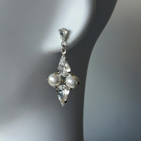 Calypso Bridal Earrings - Earrings - Long Drop - Roman & French