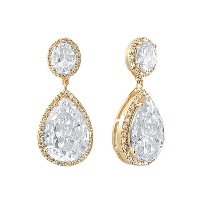 Cate Bridal Earrings Gold - Earrings - Classic Short Drop - Roman & French