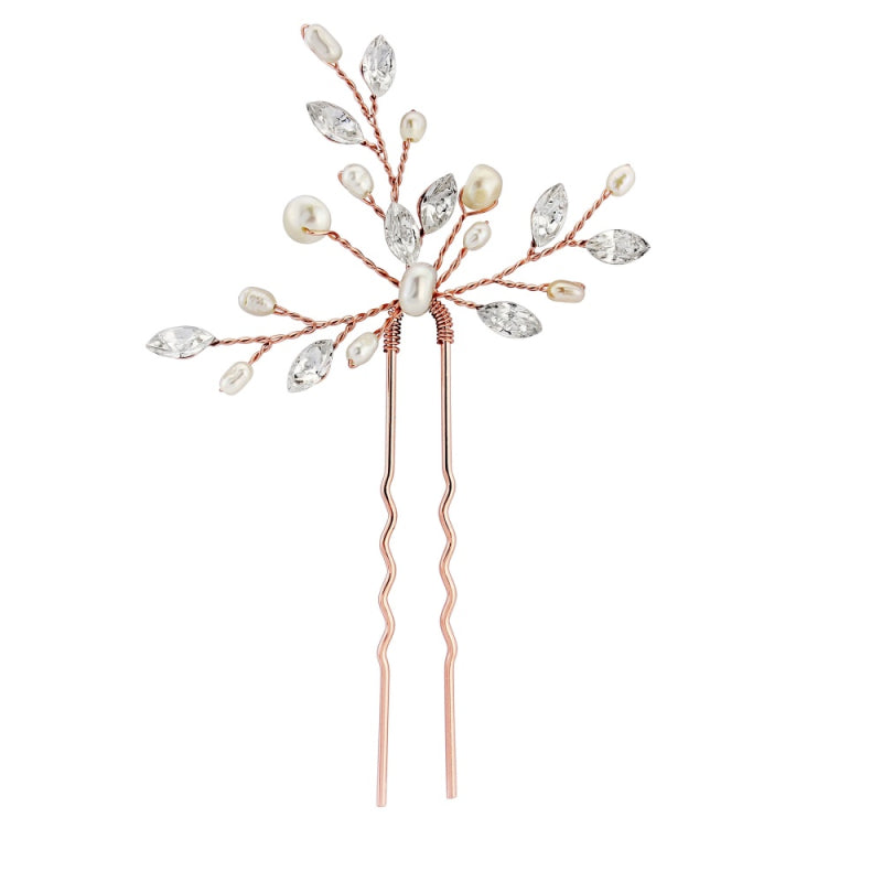 Elodie Bridal Hair Pin (Rose Gold) - Hair Accessories - Hair Clip - Roman & French