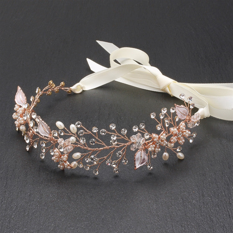 Fabienne Bridal Headband - Rose Gold - Roman & French  - 1
