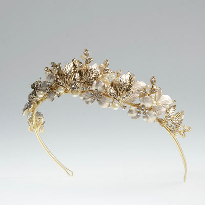Emmalyn Bridal Crown - Gold - Hair Accessories - Tiara & Crown - Roman & French