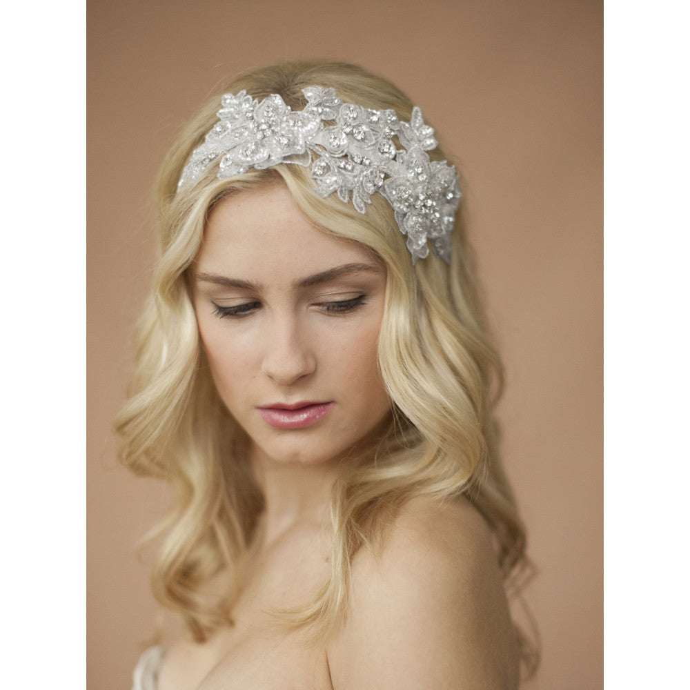 Faren Bridal Headband - White - Hair Accessories - Headbands,Tiara - Roman & French