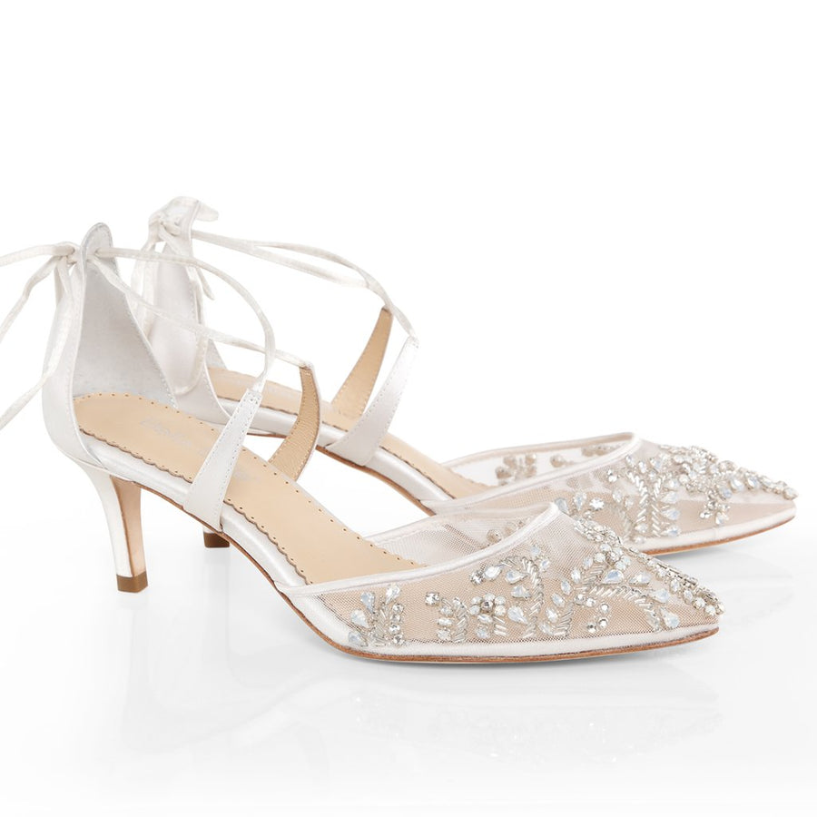 b48ecbf08 Frances Ivory - Crystal Embellished Ivory Wedding Kitten Heels - Bridal  Shoes - Roman   French