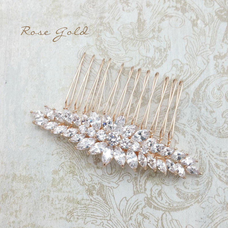 Houston Bridal Hair Comb - Rose Gold - Roman & French