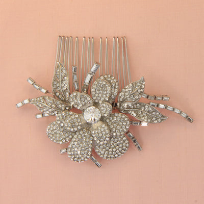Valentine Bridal Hair Comb - Silver - Hair Accessories - Hair Comb - Roman & French