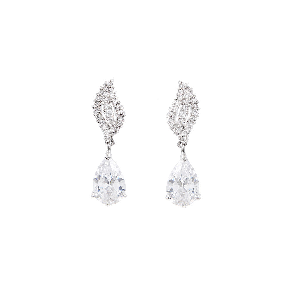 Kande Pave Bridal Earrings - Earrings - Classic Short Drop - Roman & French