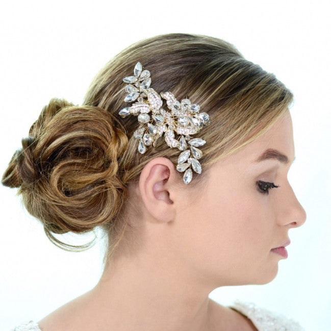 Leanna Bridal Headpiece - Gold - Roman & French  - 1