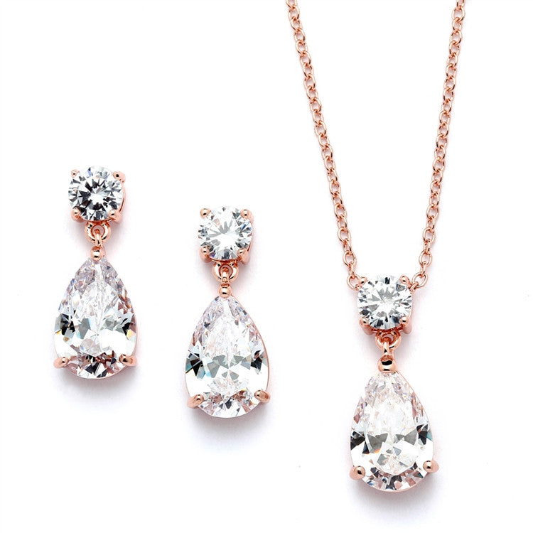Lori Bridal Necklace & Earrings Set (Rose Gold) - Roman & French