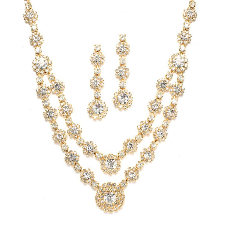 Mariela Bridal Necklace Set (Gold) - Roman & French