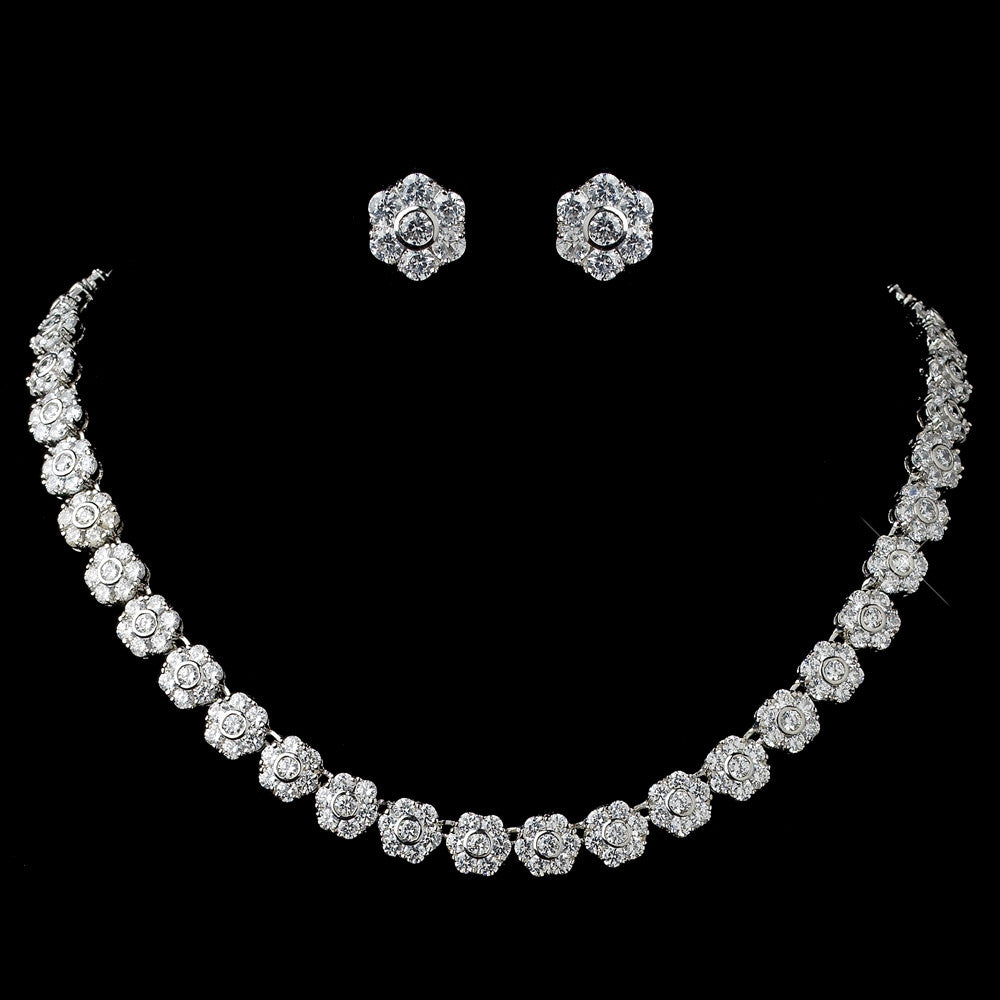 Mariella - Bridal Earrings  & Necklace Set - Necklace & Earring Set - Roman & French
