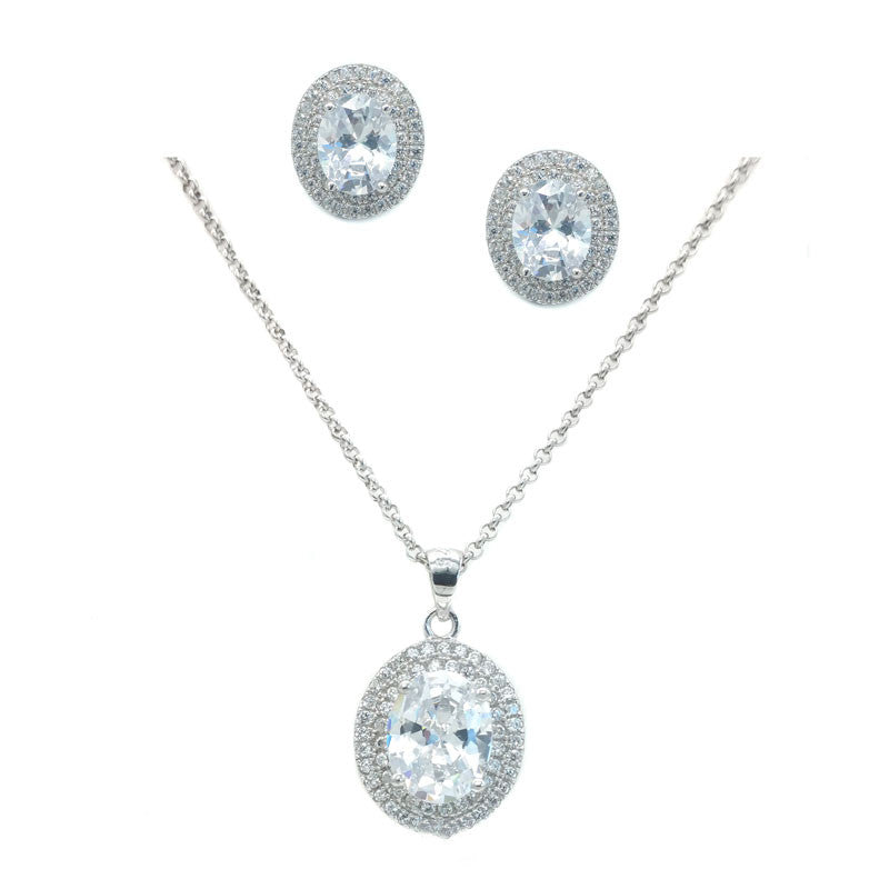 Meda Bridal Necklace and Earring Set - Roman & French