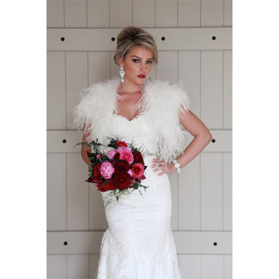 4c6983dbc24c Plume Wedding Ostrich Feather Bolero in Snow - Bridal Cover-Up - Couture -  Roman