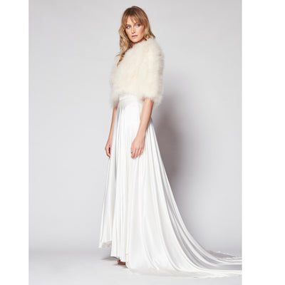 Plume Bridal Coverup Jacket in Champagne - Bridal Cover-Up - Couture - Roman & French