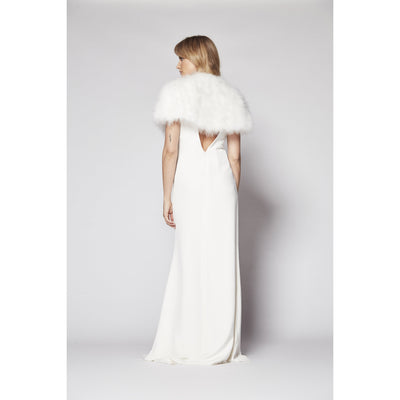 Plume Feather Cape in Snow - Bridal Cover-Up - Couture - Roman & French
