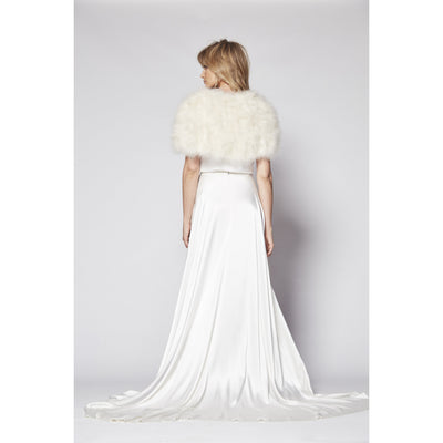 Plume Feather Capelet in Champagne - Bridal Cover-Up - Couture - Roman & French