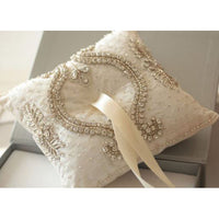 Cinderella - Ivory - Wedding Ring Pillow - Couture - Roman & French  - 1