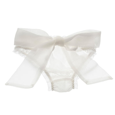 Snowflake Silk Bow Knicker - Bridal Lingerie - Knickers - Roman & French