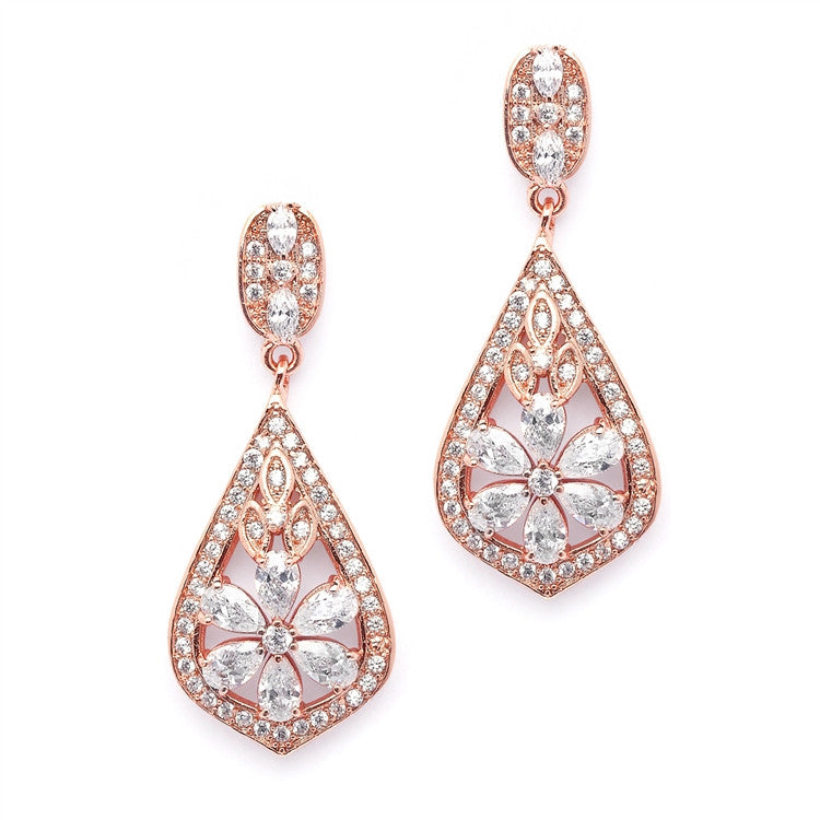 Stella Bridal Earrings - Rose Gold - Roman & French