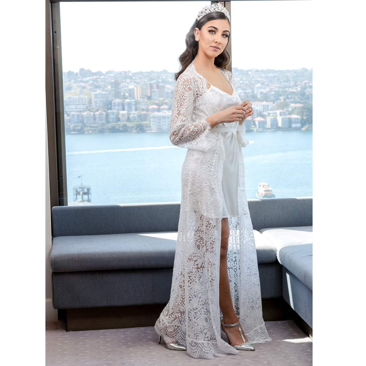 Tayla Bridal Lace Robe Floor Length
