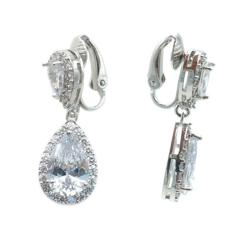 The Nesse Bridal Earrings - Clip On - Earrings - Classic Short Drop - Roman & French