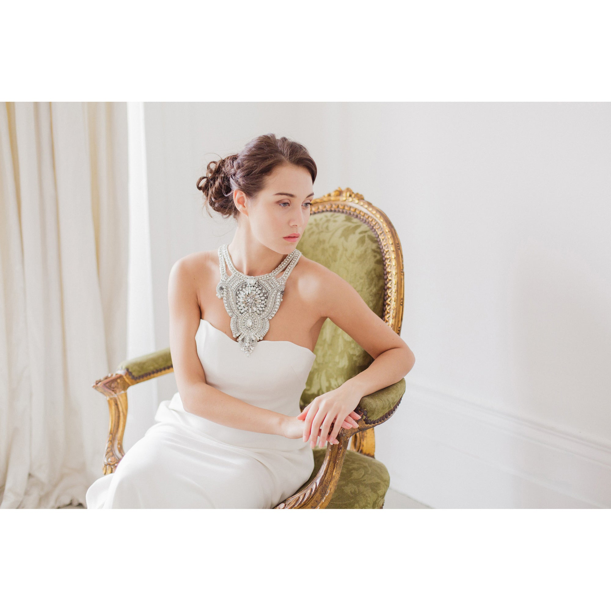 Victoria Bridal Statement Necklace - Couture - Bridal Necklace - Roman & French