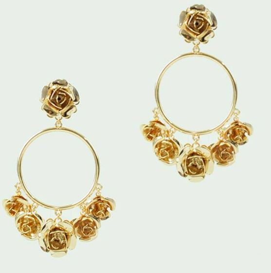 WENDY WEDDED WONDERLAND ROSE EARRINGS - Earrings - Long Drop - Roman & French
