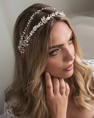Velma Bridal Headband - Silver or Champagne Gold - Roman & French  - 1