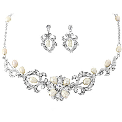 Emma Bridal Necklace & Earrings Set - Necklace & Earring Set - Roman & French