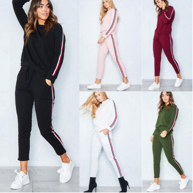 Women 2 Piece Clothing Set Leisure Sports Suit Sweatshirt+Pants Tracksuit for Women Suit - One Stop Quik Shop