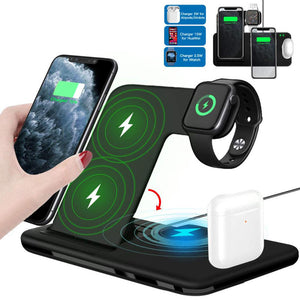 15W Qi Fast Wireless Charger Stand For iPhone 11 XR X 8 Apple Watch 4 in 1 Foldable Charging Dock Station - One Stop Quik Shop