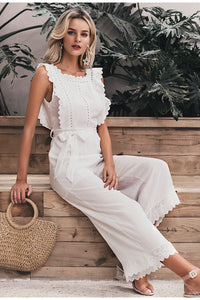 Women's Cotton Linen Ruffled Embroidery Elegant Hollow Out Jumpsuit - One Stop Quik Shop