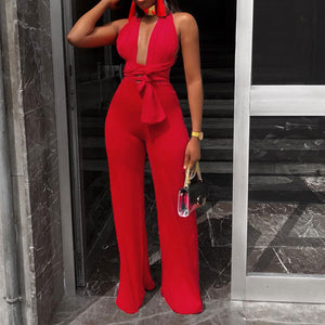 Women's V Neck Lace Up Bandage, Sleeveless,  Wide Leg Pants Suit - One Stop Quik Shop