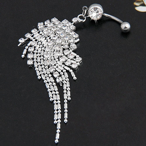 Women Rhinestone Tassel Long Chain Dangle Navel Bar Button Belly Ring Jewelry - One Stop Quik Shop