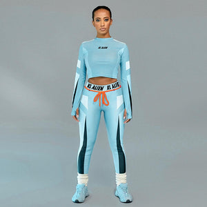 Elastic Letter Print Fitness Tracksuit Sports Suit - One Stop Quik Shop