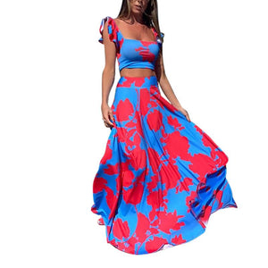 Women's Off Shoulders Crop Top Printed 2 Piece Causal Dress Set - One Stop Quik Shop