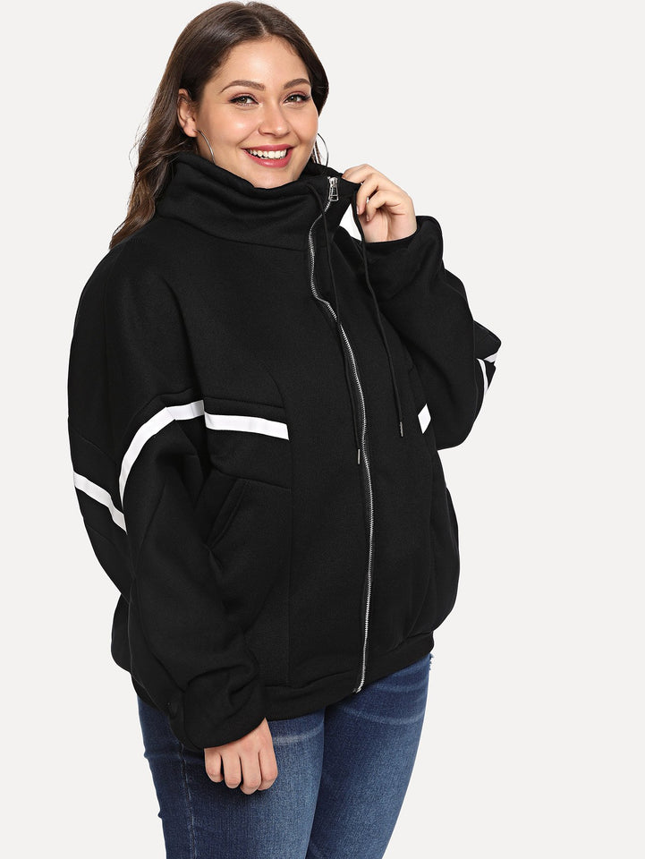 Women's Plus Size Contrast Striped Hooded Jacket - One Stop Quik Shop