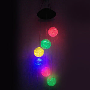 Solar Color Changing Wind Chime LED Ball Pendant Light Home Yard Garden Decor - One Stop Quik Shop