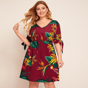 Women's Plus Tropical Print Knotted Cuff Dress - One Stop Quik Shop