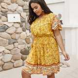 Women's Plus Size Floral Print Fringe Waistline Dress - One Stop Quik Shop