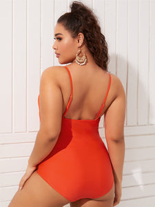 Women's Plus Size Lattice Front One Piece Swimsuit - One Stop Quik Shop