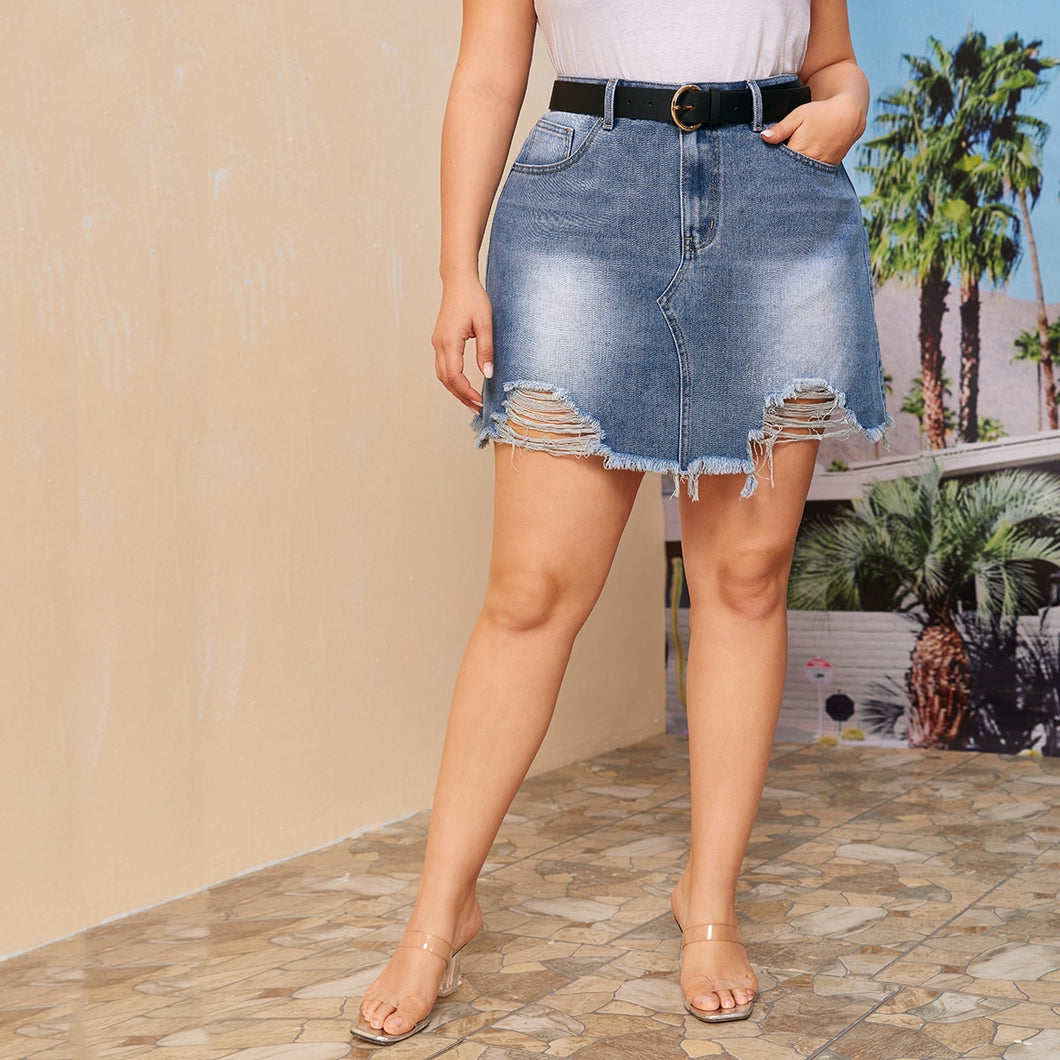 Women's Plus Size Bleached Wash Distressed Denim Skirt - One Stop Quik Shop