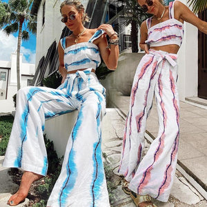 Women Hit Color Tank Top and Wide-leg Pants Two-piece Set - One Stop Quik Shop
