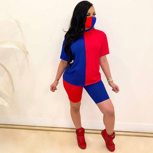 Women's Patchwork  2-Piece Set Fashion Short Sleeve Top & Shorts Suit - One Stop Quik Shop